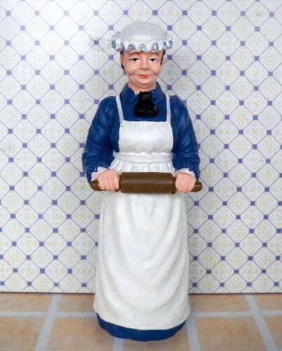 1:12 Stand Puppe Polyresin Bedienung mit Küchenrolle  Miniatur Puppe