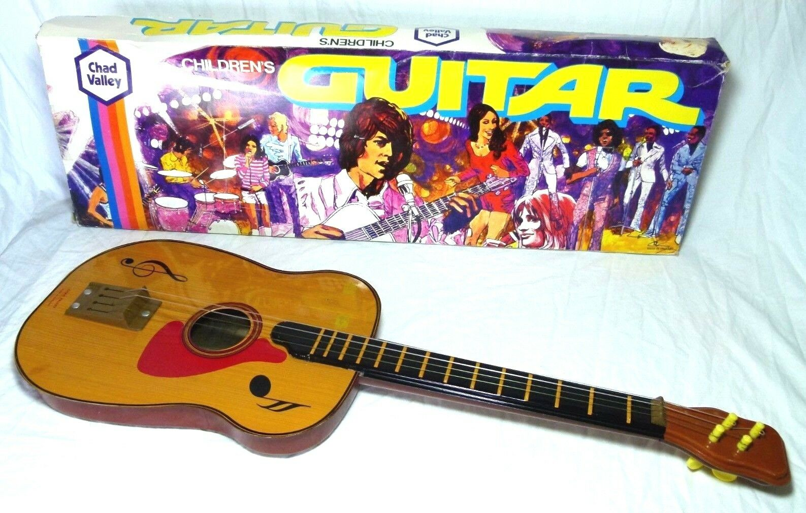 BOXED BOXED CHAD VALLEY TIN TOY LITHOGRAPHED WOOD EFFECT TINPLATE GUITAR UKULELE C1970