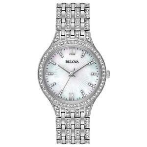 Bulova-Women-039-s-Quartz-Swarovski-Crystal-Accents-Silver-Tone-32mm-Watch-96L242