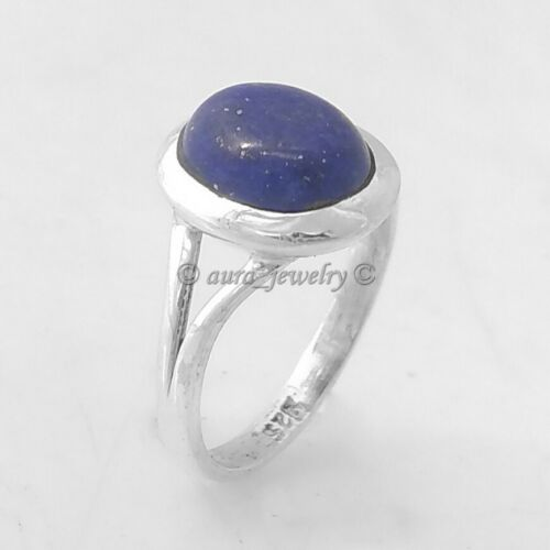 ANY SIZE 4 TO 10 Solid 925 Sterling Silver Simple Lapis Lazuli Ring Jewelry