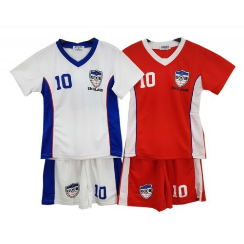 2018 Football Summer Shorts Boys England Girls Top Kit Set Size Age 4-14 Years