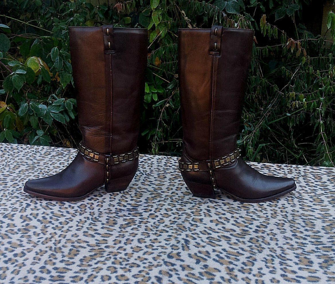 PYE brown leather Cowboy style boots UK 7 EU 40