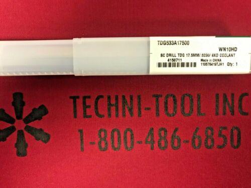 TDG533A17500 17.5mm x 7.2835 OAL Coolant-Thru 8xD Drill 4158711 0.6890