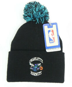 CHARLOTTE HORNETS NBA VTG BLACK KNIT RETRO CUFFED WITH POM BEANIE CAP HAT NEW!