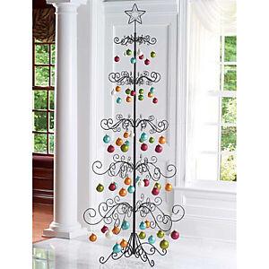 "Metal Scroll 89"" Christmas Ornament Display Tree Gold ..."