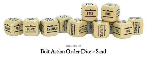 12 11 BOLT ACTION Entièrement neuf dans sa boîte Orders Dice-Sable polygonales-Dice