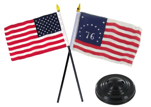 "Bennington 1776 /& USA American 1776 Historical Flag 4/""x6/"" Desk Set Black Base"