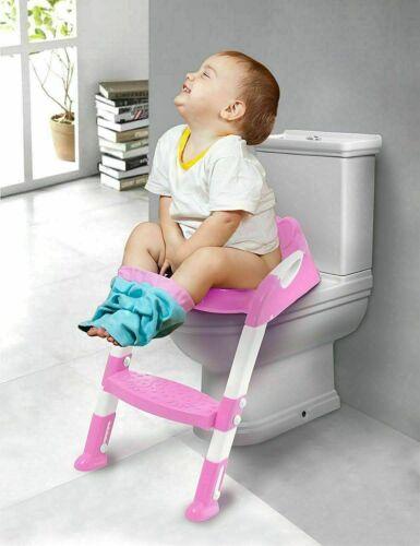 Toddler Kids Baby Children Toilet Ladder and Seat Potty Training Non Slip Pink