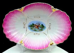"""VICTORIAN PORCELAIN CLAM SHELL EMBOSSED HAND PAINTED DUCKS 12 1/2"""" OVAL BOWL"""
