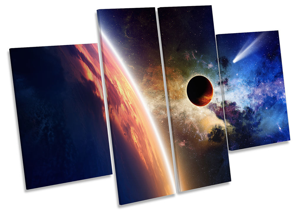 Astronomy Moon Space Planet Bild CANVAS Wand Kunst Four Panel
