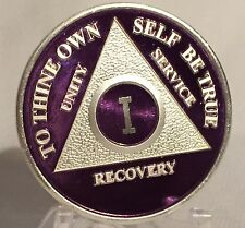 Purple /& Silver Plated 17 Year AA Chip Alcoholics Anonymous Medallion Seventeen