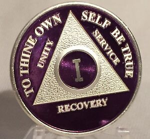 Purple-amp-Silver-Plated-15-Year-AA-Chip-Alcoholics-Anonymous-Medallion-Coin