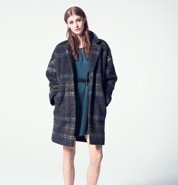 Womens Julie Brandt Coco Fully Lined Tartan Plaid Wool Blend Coat