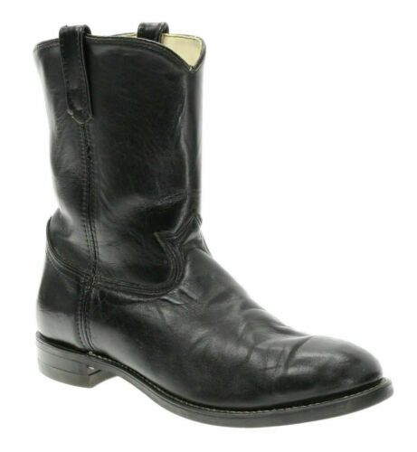 IRON AGE Boots 10.5 EE Mens Black Leather MOTORCYC