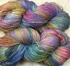 hand dyed fingering Cashmere silk merino 410 yds speckled denim rose shawls