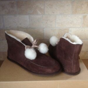 52492849fc5 Details about UGG KALLEN POM POM STOUT SUEDE FUR COLLAR BOOTIES SLIPPERS  SIZE US 11 WOMENS