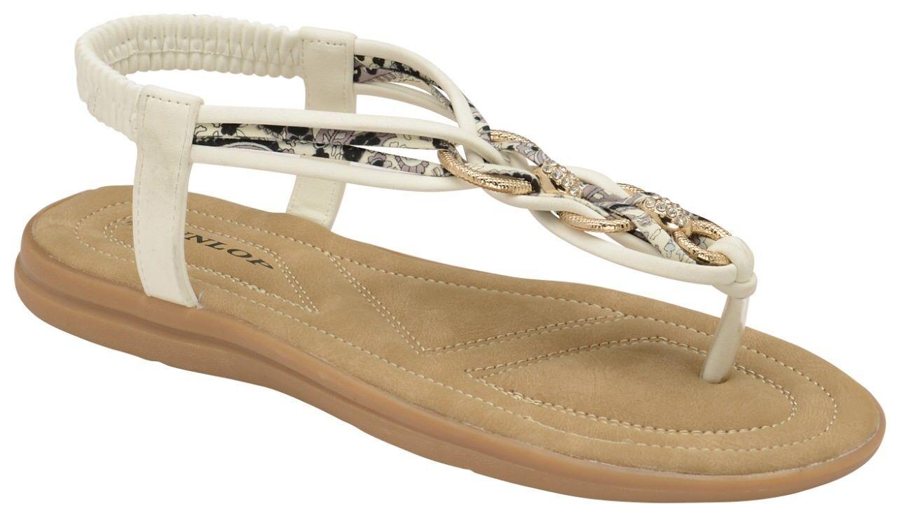 Dunlop Nikita White Slip-On Toe-Post Mules NEW    Size 4