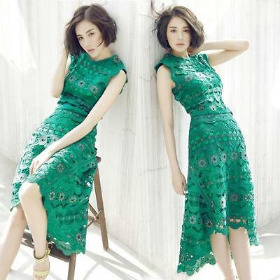 Fashion Womens Summer Slim Sleeveless Lace Mid Long Green Hollow Dress Irregular