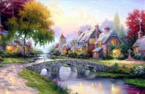 Thomas-Kinkade-Cobblestone-Bridge-12x18-Classic-Edition-Framed-Canvas