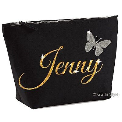 PERSONALISED LARGE ACCESSORY BAG WITH YOUR NAME GIFT MAKE UP BAG GLITTER PRESENT