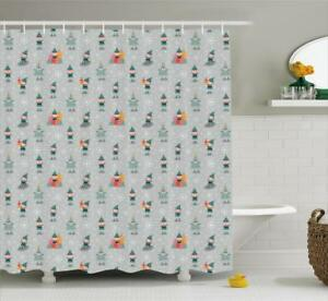 Image Is Loading Gnome Pattern Shower Curtain Fabric Decor Set With
