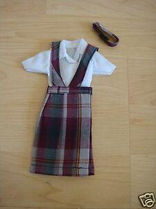 NIP 3 pc SCHOOL UNIFORM Dress Jumper Outfit Clothes fits Barbie doll PLAID #2C