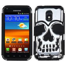 US Cellular Samsung Galaxy S II Skull HYBRID Rubber Silicone Case Silver Black