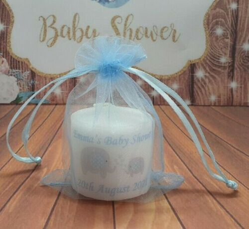 with//without tags Personalised Baby Shower 3cm Candles in blue theme