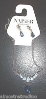 Napier Necklace Blue Stones Nickel Free Matching Earrings