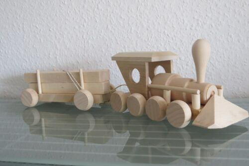 Zug mit 1 Waggon Anhänger Ladung Auto Holzspielzeug Kinder Holz NEU