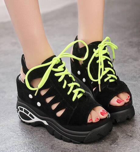 Femme Haut Compensé Plateforme Athletic Sandales À Lacets Bout Ouvert Lacets Chaussures C976