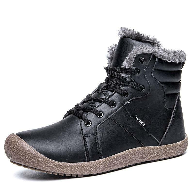 Winter Men Flat Fur Lined Warm Snow Ankle Boots High Top Casual Walking shoes Sz
