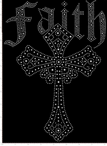 "Iron-On Rhinestone Design 8/"" x 11/"" Faith Cross Transfer Bling Diamonte Gem Motif"