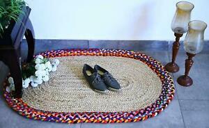 Rug-100-Natural-Jute-Vintage-Oval-3x5-Feet-Bohemian-Area-Dhurrie-Rug-Carpet-Rug