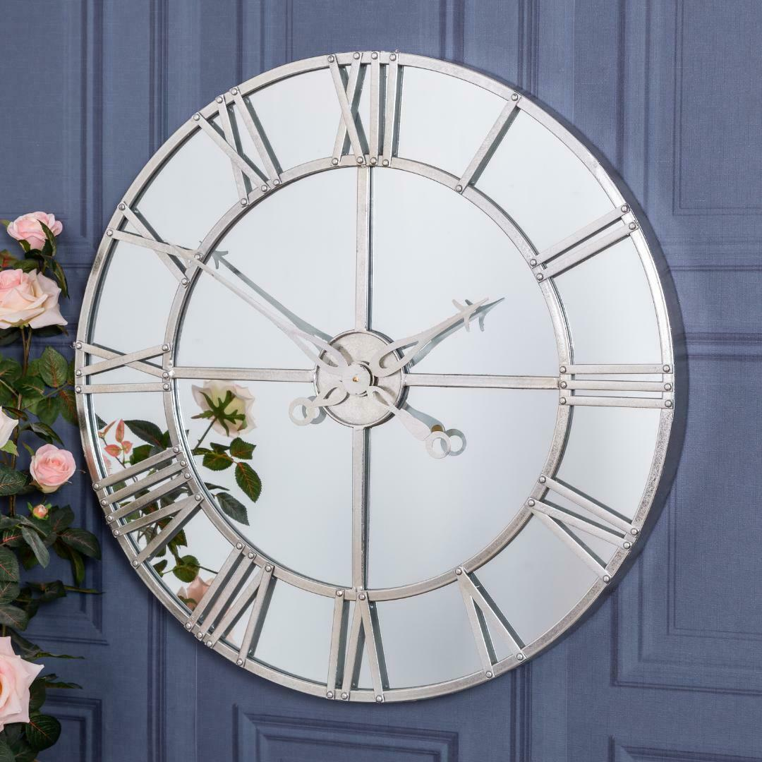 Silver Mirrored Wall Mounted Clock
