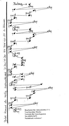 Weihnachtliche Lieder Unterlegnoten für 6-Akkord Zither