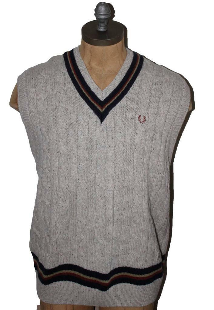 AUTH Frosso Perry Uomo's  Tipped Knitted Tank Top Sweater 100% Lana Sweater Top XL 83aa4e
