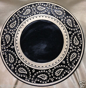 Image is loading TARGET-HOME-HMQ108-STONEWARE-BLACK-&-WHITE-PAISLEY- & TARGET HOME HMQ108 STONEWARE BLACK u0026 WHITE PAISLEY DINNER PLATE 11 3 ...