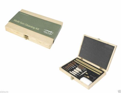 Jack Pyke Multi Gauge Gun Kit de nettoyage set en bois boîte de présentation Baguettes Brosses