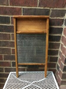 Crown-Manufacturing-Co-24-034-Ribbed-Glass-amp-Wood-Laundry-Washboard-1940s-Era