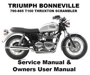 Triumph Bonneville 790 Owners Workshop Service Repair Manual Pdf Files Thruxton Ebay