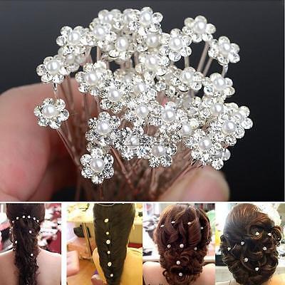 20Pcs Wedding Bridal Pearl Flower Rhinestone Hair Pins Clips Bridesmaid SP2G