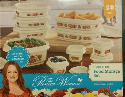 White The Pioneer Woman 20 pc VINTAGE FLORAL Food Storage Set *NEW*