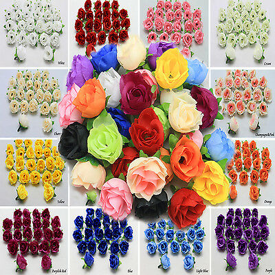 50X - 500X Roses Artificial Silk Flower Heads Wholesale Lots Wedding decor F35