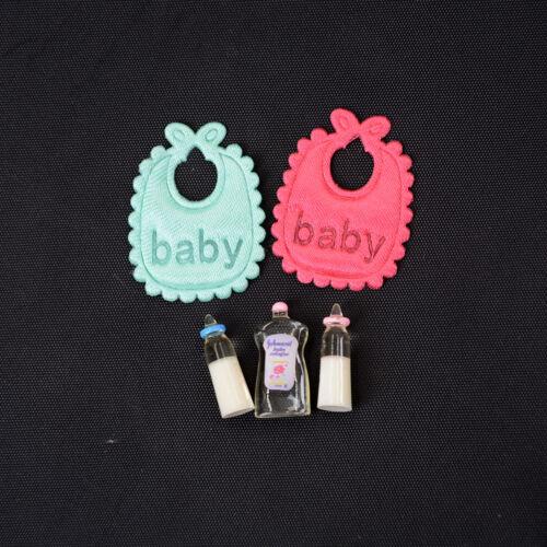 1:12Dollhouse Miniature Toy Baby Milk Bottle Bib Showers Gels 5pcs Home Decor P0