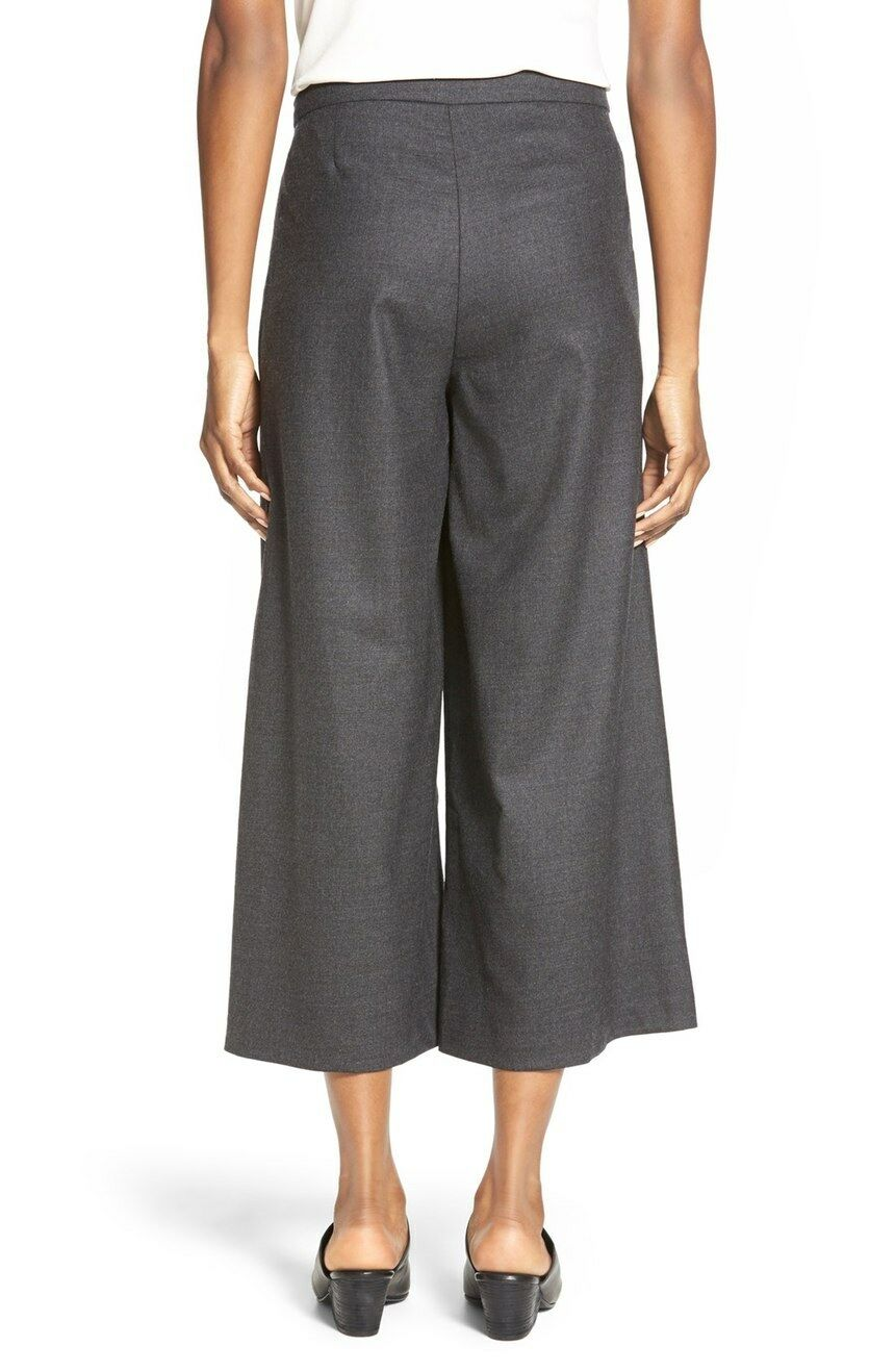 XL NWT Eileen Fisher Charcoal Heathered Stretch Flannel Twill Sarong Pants