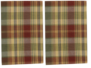 "Gold Wine Green Navy Set//2 Farmhouse Country /""SAFFRON/"" Plaid Kitchen Towels"