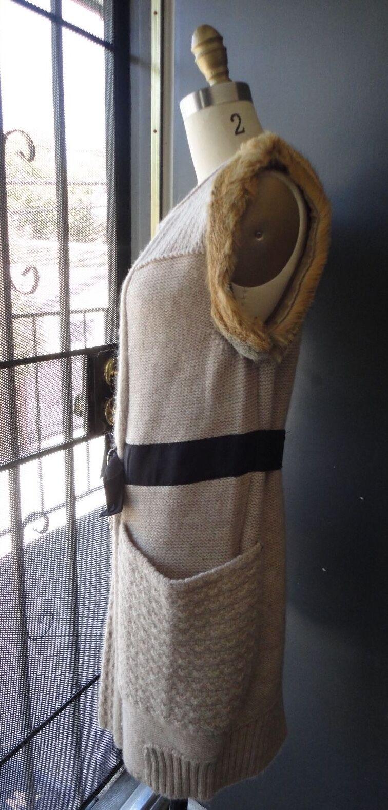 McGINN Sweater Vest Wool Alpaca Fox UK Fur Trim Sz 34 UK Fox 6 US 2b2060