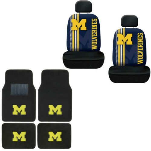 New NCAA Michigan Wolverines Car Truck Front Rear Floor Mats & Seat Covers Set