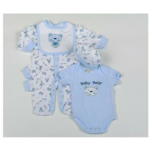Bear Baby 5 Piece Layette Clothing Set In a Net Bag Gift Set 0//3-3//6 Months